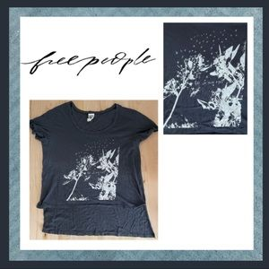 Free People High Low Graphic Tee Shirt Charcoal L